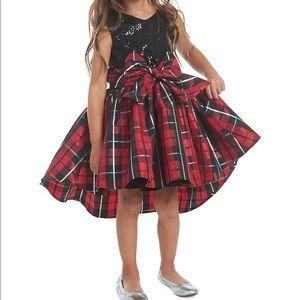 Pastourelle Girl's NYC Embellished Plaid Dress
